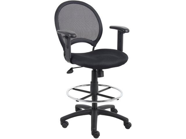 Mesh Back Drafting Stool with Adjustable Arms