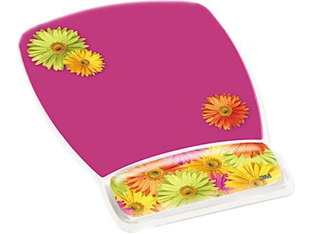 Gel Mouse Pad w/Wrist Rest Nonskid Plastic Base 6-3/4 x 9-1/8 Daisy Design