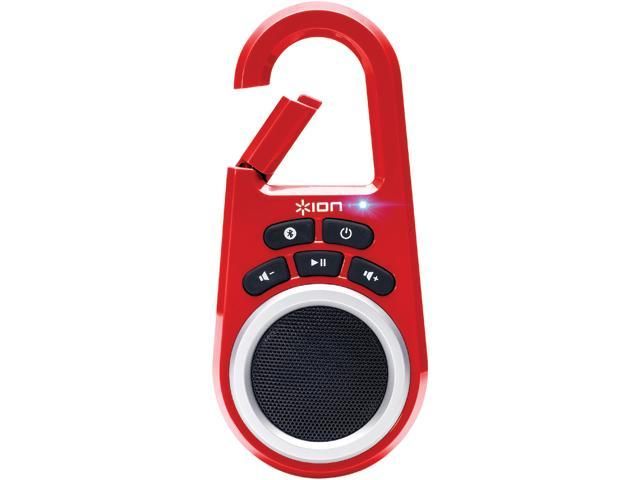 ION Clipster Ultra-Portable Bluetooth Speaker with Built-In Clip (Red)
