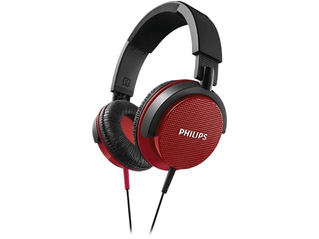 Philips SHL3100RD Red Dynamic Solid Bass 1500mW Foldable DJ Stereo Headphones