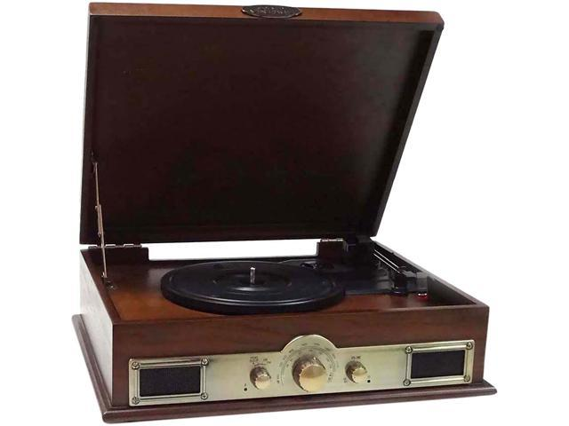 Pyle PTT30WD Bluetooth Vintage Classic Style Turntable Wireless Music Streaming, AM/FM Radio, USB Record Ability, AUX (3.5mm) Input