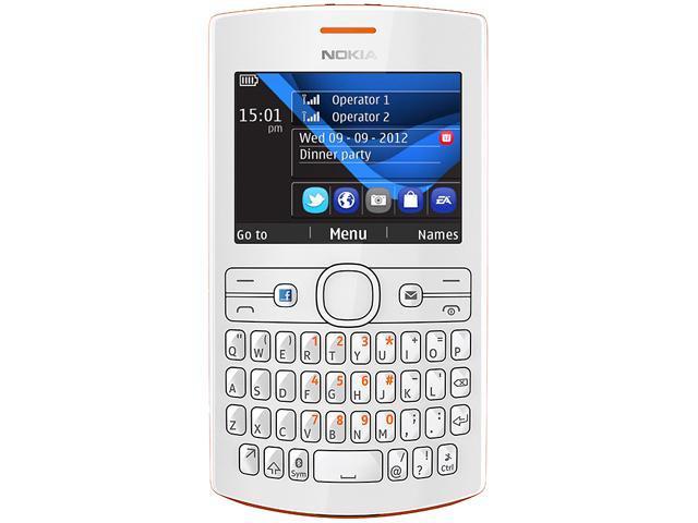 Nokia Asha 205 Orange/White Stereo FM Radio Bluetooth Unlocked GSM Cell Phone