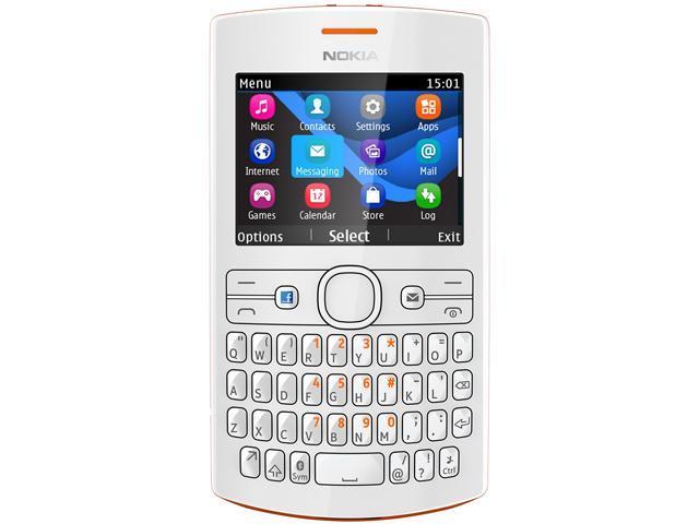 Nokia Asha 205 Orange/White Stereo FM Radio Bluetooth Unlocked GSM Cell Phone - OEM