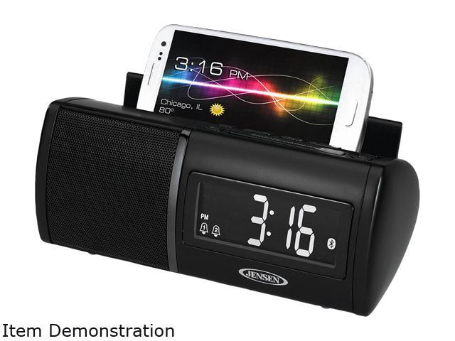 Jensen Jbd100 Black Clock Radio Bluetooth With Usb Chargiing