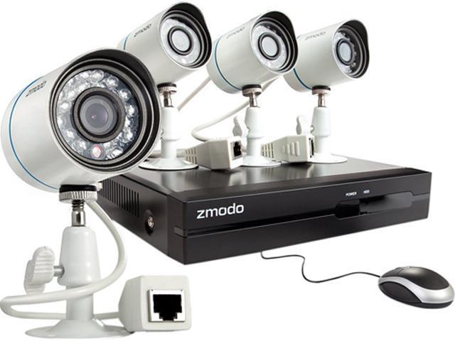 Zmodo ZP-KE1T04-S-1TB 4CH NVR + 4 HD 720P Day/Night Outdoor sPoE IP Camera w/ 1TB HDD Smartphone Scan QR Code Quick Remote Access