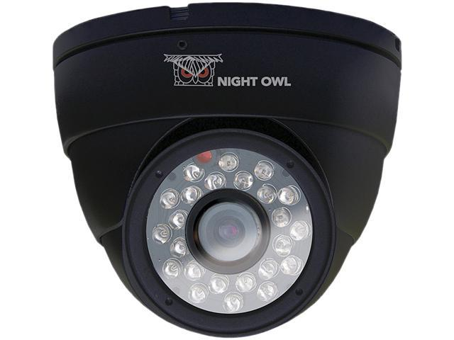Night Owl CAM-DM624-B Black Dome Camera 600 TVL with 24 LEDs and 60ft of Cable Per Camera - Color Box