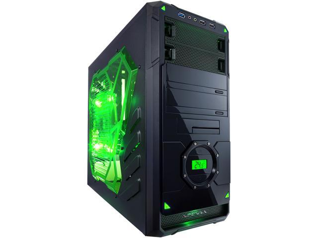 APEVIA X-DREAMER4 Series X-DREAMER4-GN Black / Green Steel ATX Mid Tower Computer Case