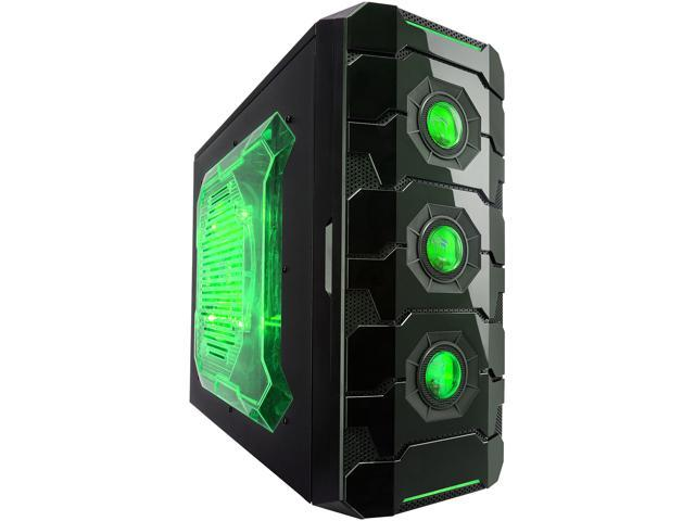APEVIA X-CRUISER3 X-CRUISER3-GN Black Steel ATX Mid Tower Computer Case w/ Side Window-Green