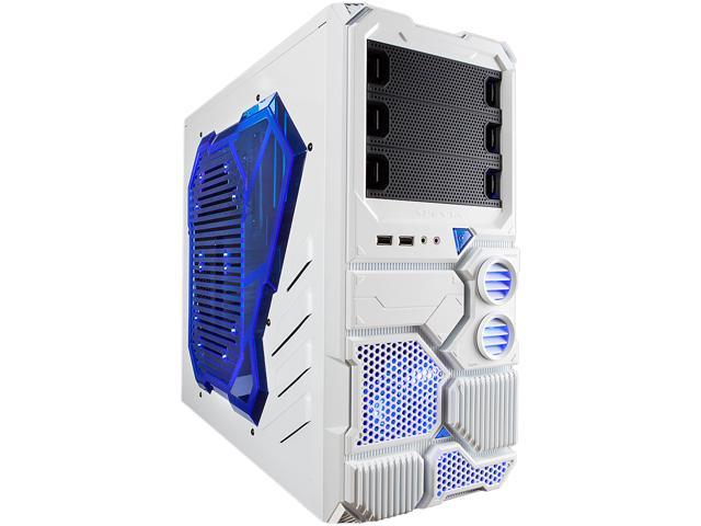 APEVIA X-Sniper X-SNIPER2-WHT White Steel ATX Mid Tower Computer Case w/ Side Window-Blue