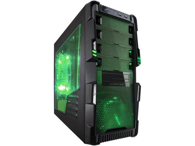 APEVIA X-Hermes X-HERMES-GN Black/Green Steel ATX Mid Tower Computer Case w/ Side Window-Green