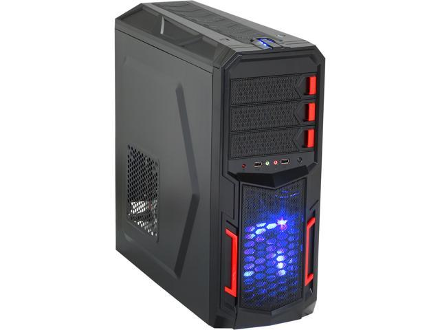 Rosewill Galaxy-02 Black Gaming ATX Mid Tower Computer Case, comes with Three Fans-1x Front Blue LED 120mm Fan, 1x Rear 120mm Fan, 1x Top 120mm ...