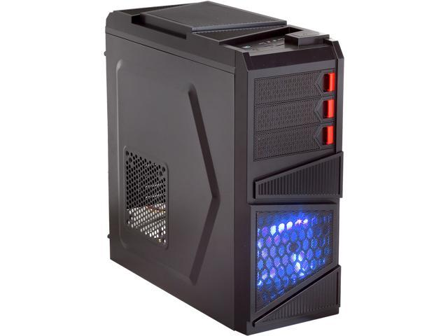 Rosewill Galaxy-03 Black Gaming ATX Mid Tower Computer Case, comes with Three Fans-1x Front Blue LED 120mm Fan, 1x Rear 120mm Fan, 1x Top 120mm ...