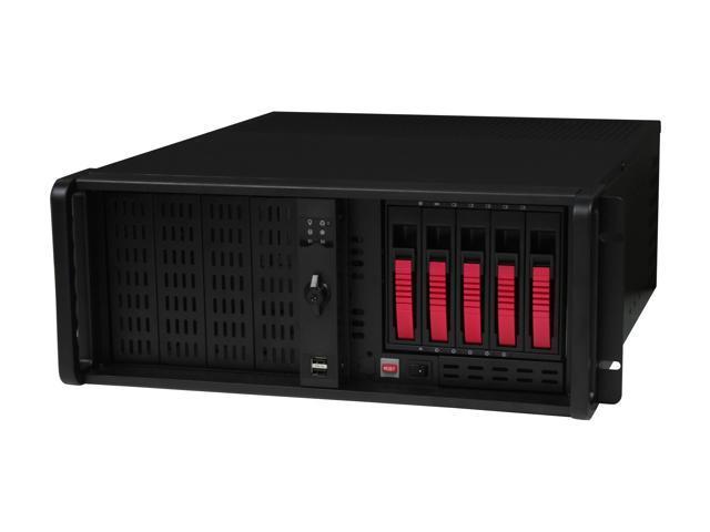 iStarUSA D-4-B350PL-RED Steel 4U Rackmount Server Case 5xSATA Hot-Swap with 20