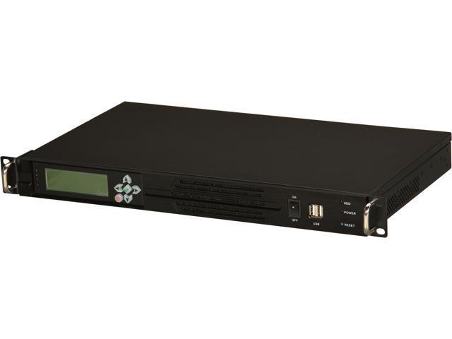 Athena Power RM-1U100DRD308 Black Aluminum/Steel 1U ITX Rackmount Server Case 300W FLEX ATX 80 Plus Bronze with LCD Compact Size 9.84