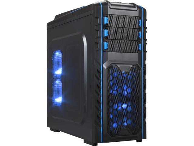 DIYPC Skyline-07-B Black SECC ATX Full Tower USB3.0 Gaming Computer Case w/ 7 x 120mm Blue Fans