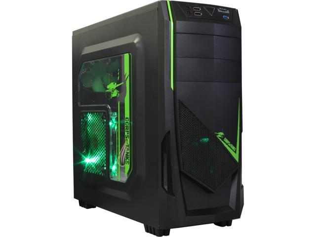 DIYPC Ranger-R8-G Black/Green USB 3.0 ATX Mid Tower Gaming Computer Case with 3 x Green Fans (1 x 140mm LED Fan x side, 1x120mm LED ...
