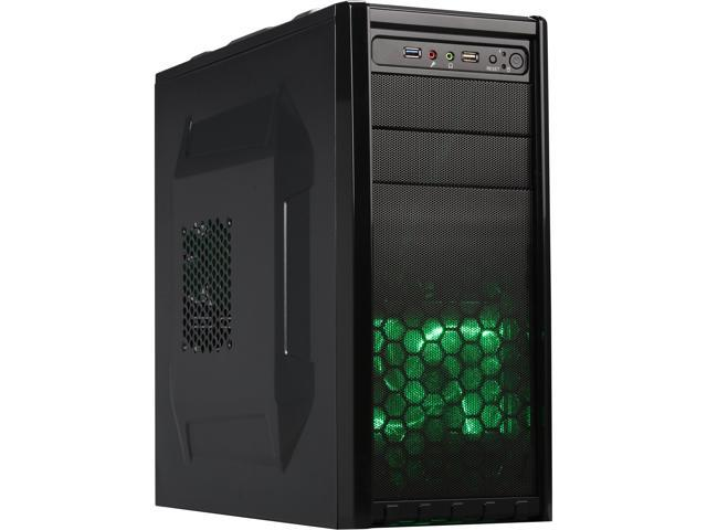 DIYPC Gamemax08-G Black/Green SECC Steel ATX/Micro ATX Gaming USB3.0 Mid Tower Computer Case with Built-in 3 x Green Fans(1x 120mm LED x front, ...