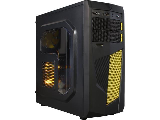DIYPC Mirage-D1-Y Black/Yellow SECC ATX Mid Tower Computer Case