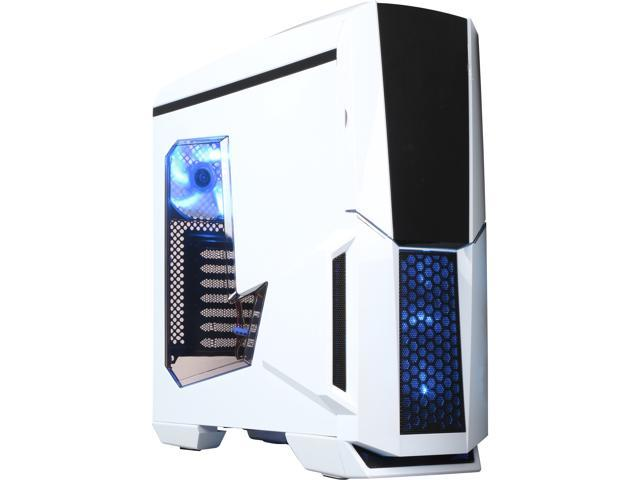 DIYPC Gamemax-W White Dual USB 3.0 ATX Full Tower Gaming Computer Case with Build-in 5 x Blue Fans (2 x 120mm LED Fan x Top, ...