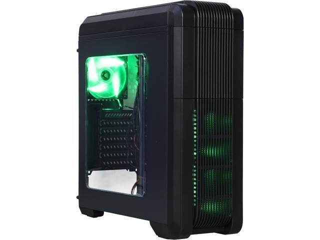 DIYPC Adventurer-I8-G Black/Green SPCC ATX Mid Tower Computer Case