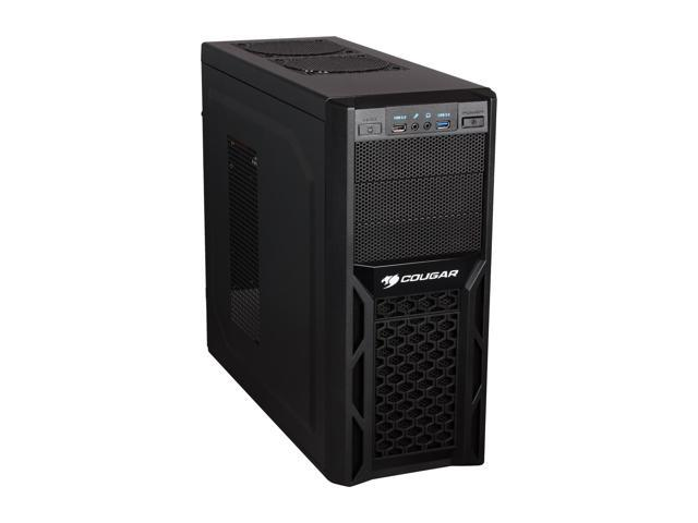 COUGAR Solution Black Steel ATX Mid Tower Computer Case with 12cm COUGAR TURBINE HYPER-SPIN Bearing Silent Fan and USB 3.0