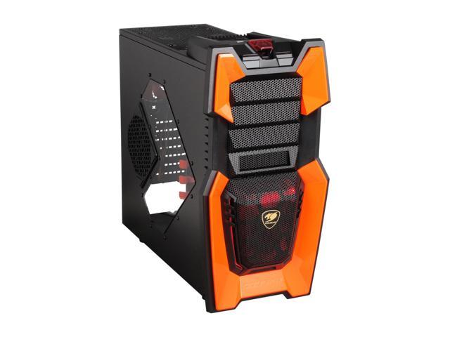 COUGAR Orange Challenger Black Steel ATX Computer Case with 12cm COUGAR TURBINE HYPER-SPIN Bearing Silent Fans and 20cm LED Fan