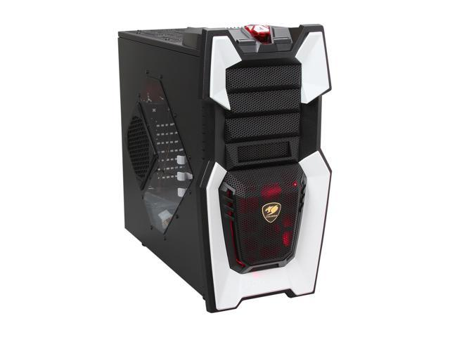 COUGAR Challenger-W White / Black Steel / Plastic ATX Mid Tower Computer Case with 12cm COUGAR TURBINE HYPER-SPIN Bearing Silent Fans and 20cm ...