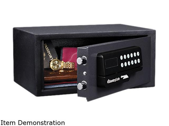 Electronic Lock/Card Swipe Security Safe, 0.4 Ft3, 15W X 11D X 7H, Black
