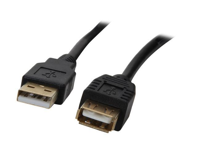 Rosewill RCAB-11007 15 ft. Black USB2.0 A Male to A Female Extension Cable, Gold Plated, Black
