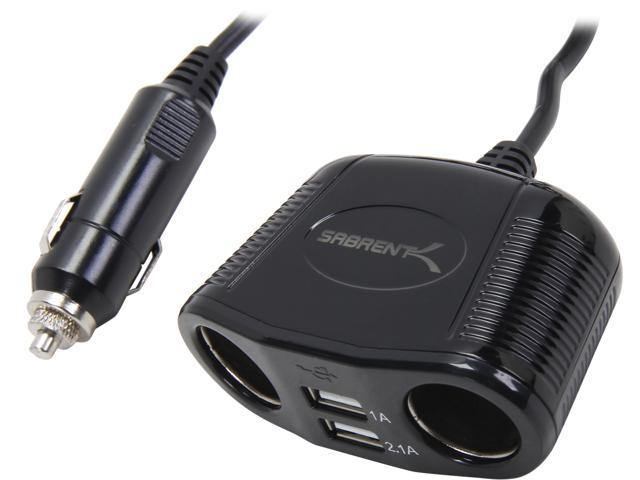 SABRENT PW-C40U Dual Cigarette Lighter Adapter with 2.1A-1A Dual USB Car Charger