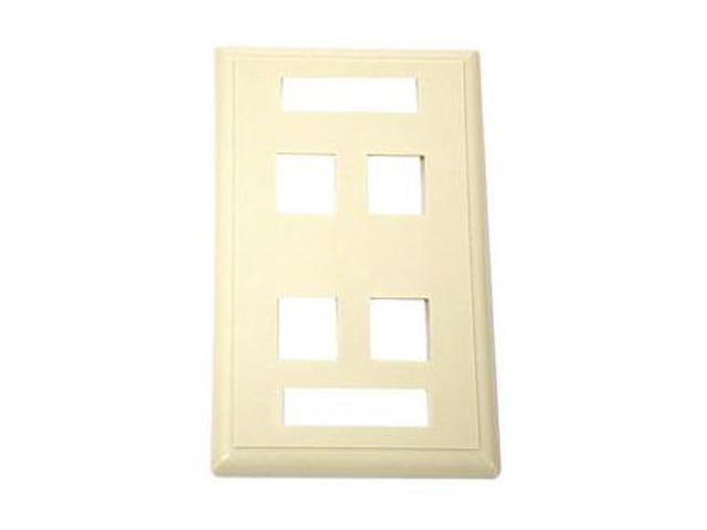 C2G 03713 4Port Keystone Wall Plate Ivoy