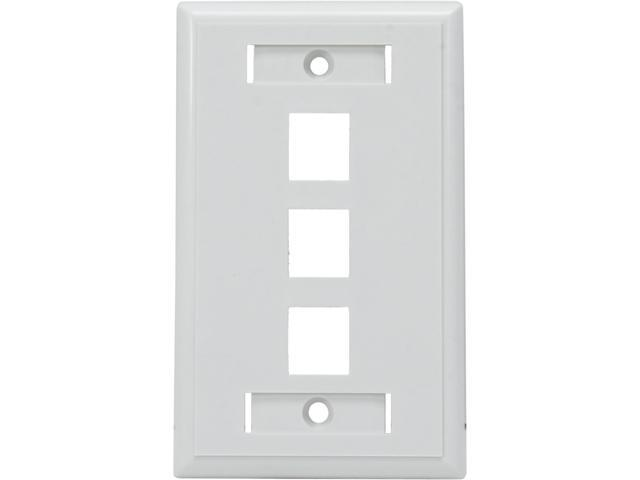 C2G 03412 3-Port Single Gang Multimedia Keystone Wall Plate - White