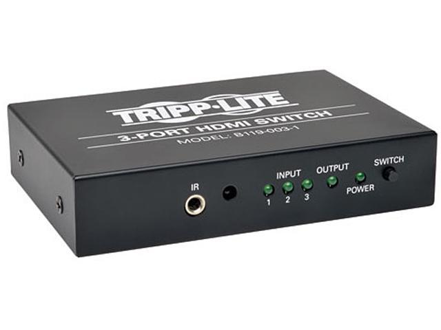 Tripp Lite B119-003-1 3-Port Black HDMI Video Switch 3 to 1 w/ IR Remote 1080p Resolution