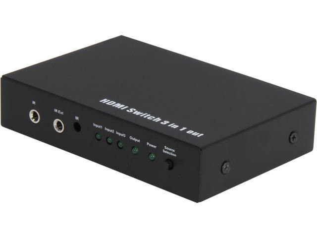 Coboc HA-HMSW-3X1 3 Port 3 in 1 out Certified HDMI V1.4 Amplified Switch switcher w/ 3D HDCP 1080P Support, with IR Remote