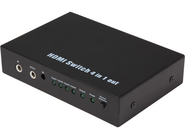 Coboc HA-HMSW-4X1 4 Port 4 in 1 out Certified HDMI V1.4 Amplified Switch switcher w/ 3D HDCP 1080P Support,with IR Remote