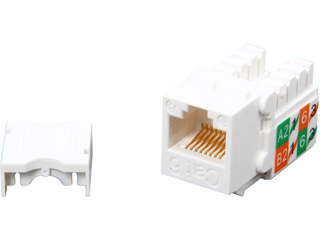 NTW NJK/6H-KY-WHT CAT6 Slim HD 90D White Keystone Jack, Punch Down Terminal *1