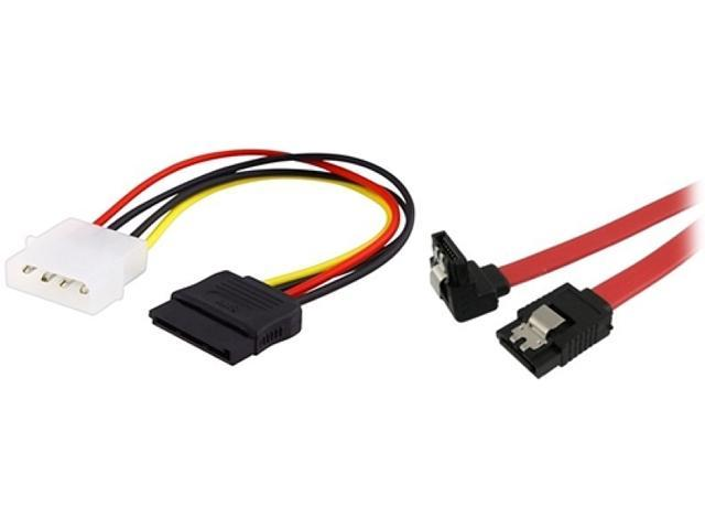 Insten 1044563 1X 6-inch Internal Power 5.25-M to SATA Cable,1X SATA Data Cable, Straight to Right 18 inch