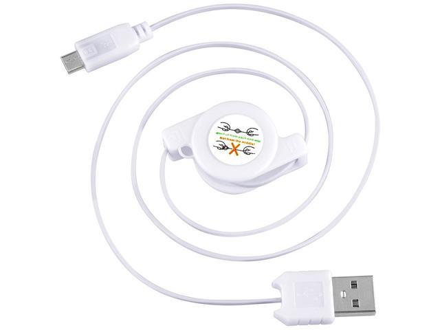 Insten 1667972 4 inches (can be extended up to 31 inches) White 1x Micro USB 2-in-1 Retractable Cable