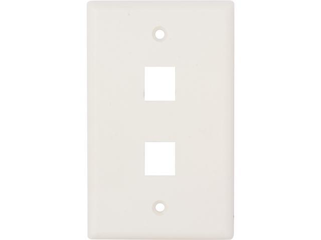 Nippon Labs WP-2WH Wall Plate for Keystone Insert, 2 Hole, Color White - OEM