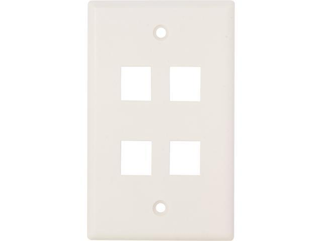 Nippon Labs WP-4WH Wall Plate for Keystone Insert, 4 Hole, Color White - OEM