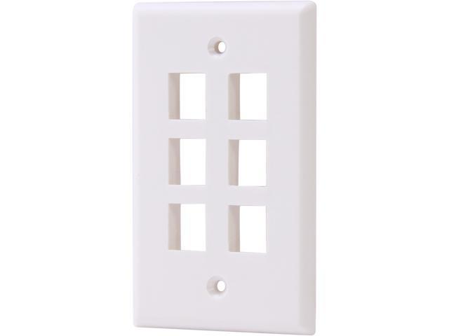 Nippon Labs WP-6WH Wall Plate for Keystone Insert, 6 Hole, Color White - OEM
