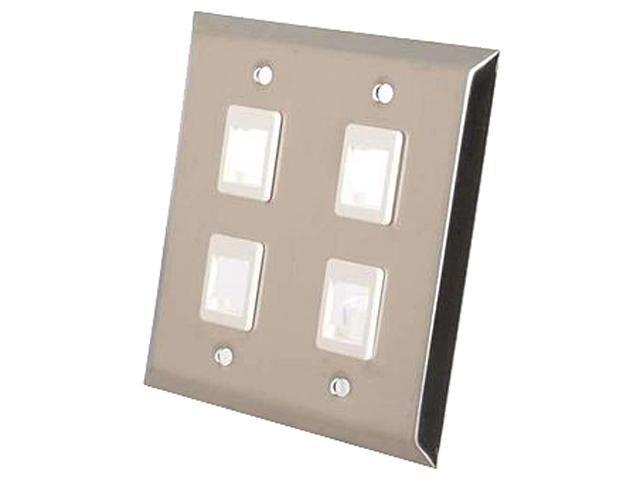 C2G 37097 4-Port Dual Gang Multimedia Keystone Wall Plate