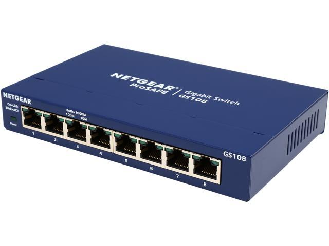 NETGEAR ProSAFE 8-Port Gigabit Ethernet Switch (GS108) - Lifetime Warranty
