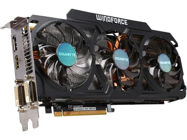 GIGABYTE GV-N760OC-4GD REV2.1 GeForce GTX 760 4GB 256-Bit GDDR5 PCI Express 3.0 SLI Support ATX WindForce 3X Gaming Graphics Card