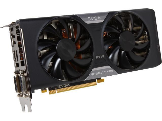 EVGA 04G-P4-3768-KR G-SYNC Support GeForce GTX 760 FTW 4GB 256-bit GDDR5 PCI Express 3.0 SLI Support Video Card w/ EVGA ACX Cooler - Retail