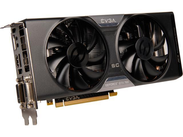 EVGA 04G-P4-2768-KR G-SYNC Support GeForce GTX 760 4GB 256-Bit GDDR5 PCI Express 3.0 SLI Support SC 4GB w/ EVGA ACX Cooler Video Card