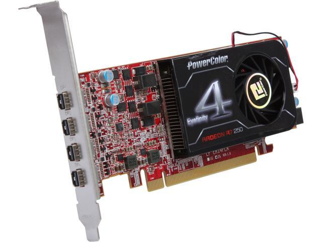 PowerColor AXR7 250 2GBD5-4DL Radeon R7 250 2GB 128-Bit GDDR5 PCI Express 3.0 CrossFireX Support Low Profile Ready Eyefinity 4 LP Edition Video Card