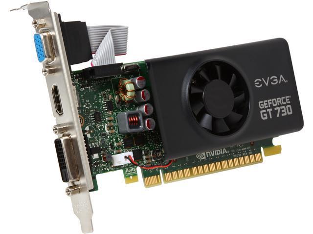EVGA 01G-P3-3731-KR GeForce GT 730 1GB 64-Bit GDDR5 PCI Express 2.0 Low Profile Ready Video Card