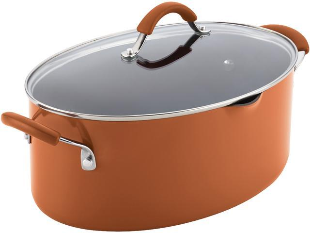 Rachael Ray 16332 Cucina Hard Enamel Nonstick 8-Quart Covered Oval Pasta Pot With Pour Spout, Pumpkin Orange