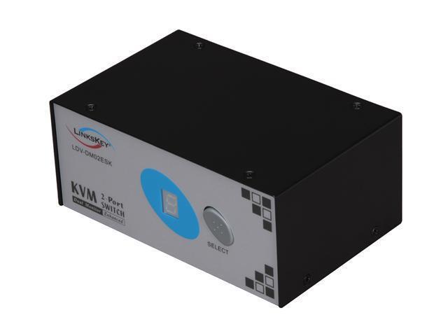 LINKSKEY LDV-DM02ESK 2-Port Dual Monitor DVI + PS/2 KVM Switch w/ Cables